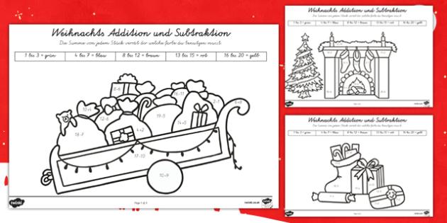 Weihnachtsrechnen Plus und Minus bis 20 Arbeitsblätter-German