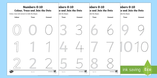 0-10 Colour Trace And Join The Dots Worksheet / Activity Sheet