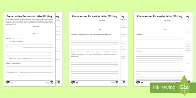 persuasive letter template ks2  Conservation Persuasive Letter Writing Frames - KS12 Big ...