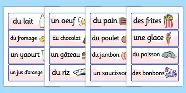 French Food Vocabulary Cards - france, language, EAL, vocab cards