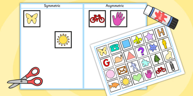 Symmetric and Asymmetric Sorting Activity - symmetry, sorting, 2D shape, symmetry, symmetric, asymmetric