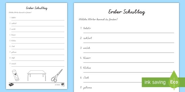 NEW * Erster Schultag Buchstabensalat Arbeitsblatt - Schule