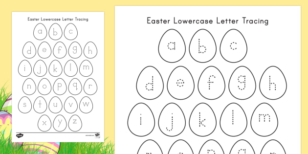 easter lowercase alphabet tracing worksheet activity sheet easter lowercase letters tracing