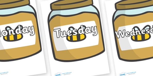 Days of the Week on Honey Jars - Days of the Week, Weeks poster, week, display, poster, frieze, Days, Day, Monday, Tuesday, Wednesday, Thursday, Friday, Saturday, Sunday