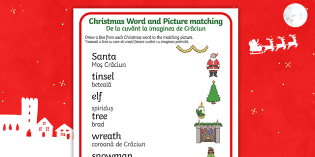 Christmas Word and Picture Matching Activity Sheet English/Romanian - Christmas Word and Picture Matching Activity - christmas themed, word and picture matching, christma