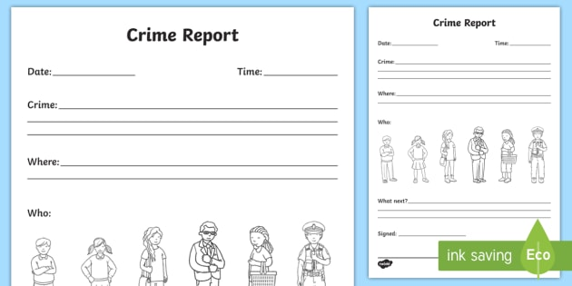 Crime Report Writing Template Crime Crime Scene Police Incident