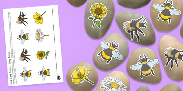 Here is the Beehive Story Stones Image Cut-Outs - Story stones, stone art, painted rocks, Nursery Rhymes, song