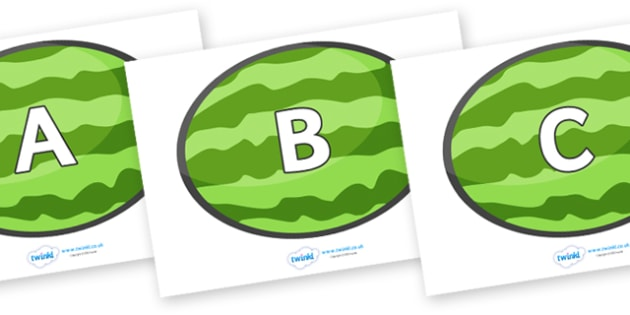 A-Z Alphabet on Melons (Horizontal) - A-Z, A4, display, Alphabet frieze, Display letters, Letter posters, A-Z letters, Alphabet flashcards
