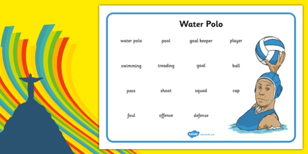 The Olympics Water Polo Word Mat - the olympics, rio olympics, 2016 olympics, rio 2016, water polo, word mat