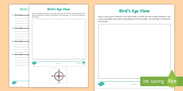 Bird's-Eye View Worksheet / Worksheet - compass, directions ...