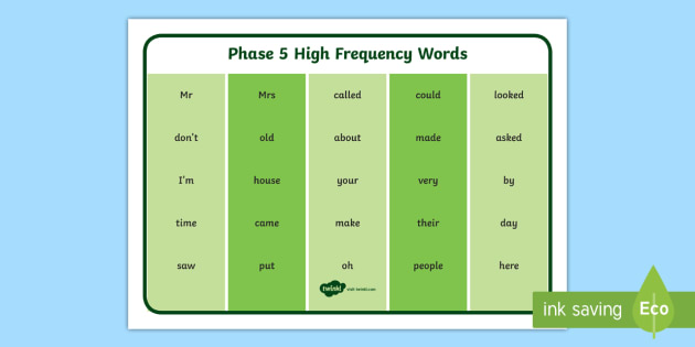 Phase 5 High Frequency Word Mat Phase 4 High Frequency Word