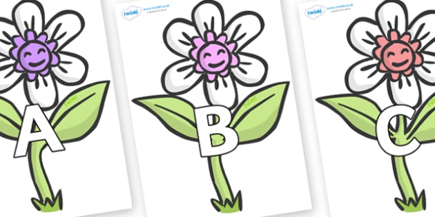 A-Z Alphabet on Flowers - A-Z, A4, display, Alphabet frieze, Display letters, Letter posters, A-Z letters, Alphabet flashcards