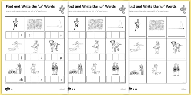 Find and Write the ur Words Differentiated Activity Sheet Pack, worksheet