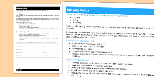 Childminder Bullying Policy - child minder, rules, policies, bullying