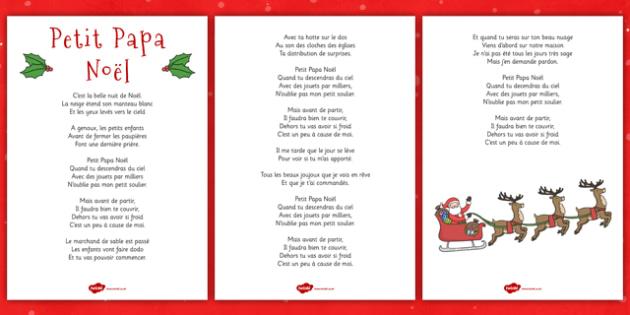 Petit Papa Nol Lyric Sheet French teacher made