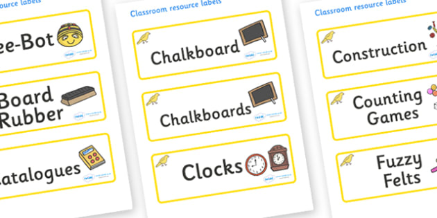 Canary Themed Editable Additional Classroom Resource Labels - Themed Label template, Resource Label, Name Labels, Editable Labels, Drawer Labels, KS1 Labels, Foundation Labels, Foundation Stage Labels, Teaching Labels, Resource Labels, Tray Labels, P
