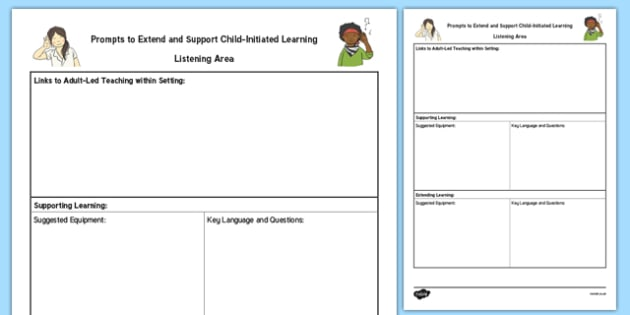 Listening Area Adult Support Prompt Sheet Template - EYFS Continuous Provision Plans, enhancements