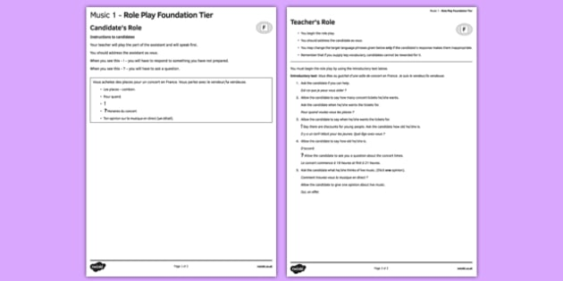 Music 1 GCSE Foundation Tier Role-Play French - Speaking, oral, free, time, hobbies, pastime, leisure, concert, singer, band