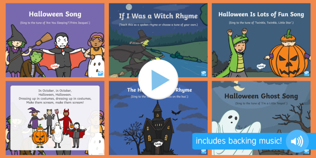 Halloween Songs and Rhymes PowerPoints Pack - EYFS, Early Years, Halloween, witches, wizards, magic spell, Hallowe'en, All Hallows Eve, All Saint