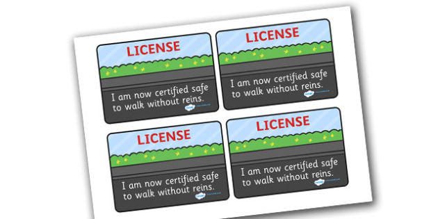 Walking Without Reins Licence - walking, safe, safety, reigns, without, road safety, licence, licences, award, able to, well done, licence, walking bus, walking without reins, road crossing