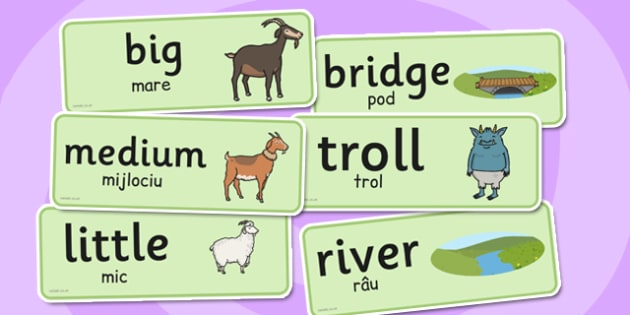 The Three Billy Goats Gruff Word Cards Romanian Translation