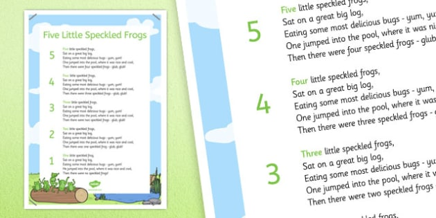 Five Speckled Frogs Nursery Rhyme Poster - five speckled frogs, rhyme