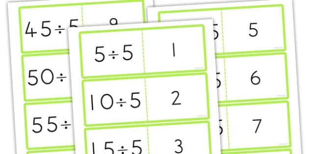 5 Times Table Division Cards - australia, division, cards, times