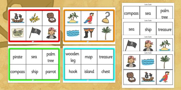 Pirates Bingo - Pirates, bingo, activity, game, pirate, pirates, treasure, ship, jolly roger, ship, island, ocean