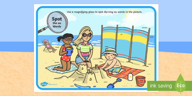 Phase 5 ou Words Beach Scene Magnifying Glass Activity Sheet - phonics, letters and sounds, phase 5, ou sound, magnifier, magnifying glass, find, activity, group,