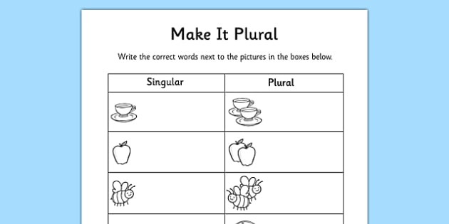 Singular And Plural Worksheet Singular And Plural Plurals
