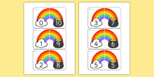 Rainbow and Pot of Gold Number Bonds to 10 - rainbow, pot of gold, number, bonds, number bonds, number bonds to 10, themed number bonds, themed numbers