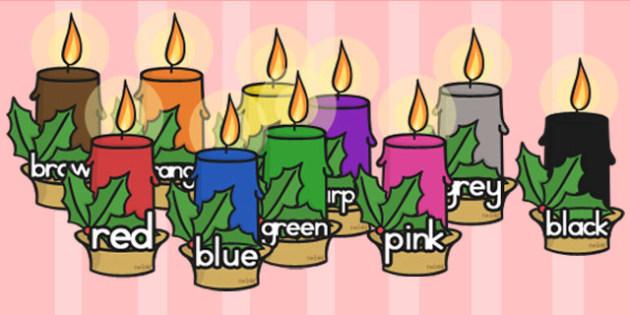 Australia Colour Words On Christmas Candles - colours, keywords, christmas