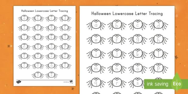halloween lowercase letter tracing worksheet activity sheet letter tracing alphabet tracing alphabet