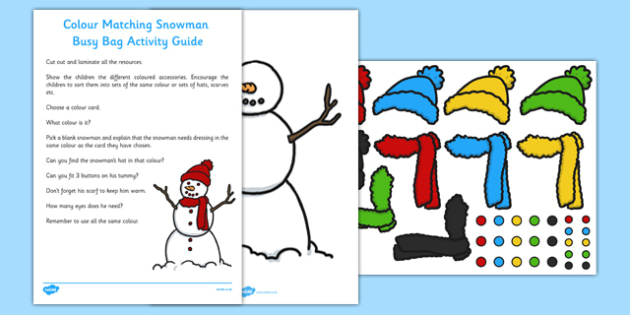Colour Matching Snowman Busy Bag Resource Pack for Parents - colour, matching, snowman, busy bag, pack, parents