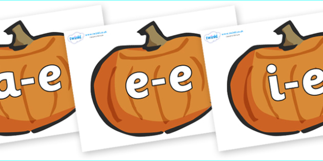 Modifying E Letters on Pumpkins - Modifying E, letters, modify, Phase 5, Phase five, alternative spellings for phonemes, DfES letters and Sounds