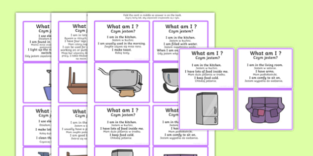 What Am I Guessing Game Cards Household Objects Polish Translation - visual aid, ojects, home, around the house, items, naming, eal, mfl, sen