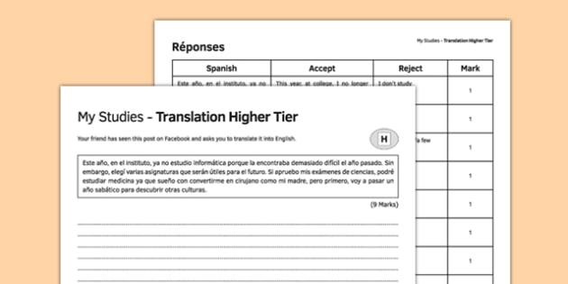 Mis estudios Traducción Higher Tier - spanish, My studies, translation, Higher, Spanish to English, school