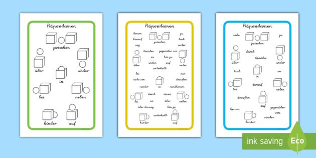 Präpositionen Wortschatz Wort- und Bildkarten - Präpositionen