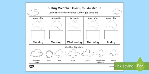 5 Day Weather Diary For Australia Worksheet Activity Sheet