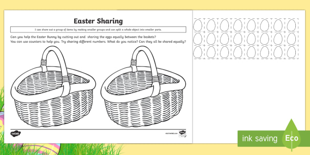 Easter basket sharing activity cfe early level easter themed easter basket sharing activity cfe early level easter themed maths activities sharing division negle Image collections