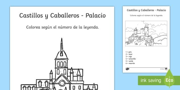 Colorear con números: Castillos y caballeros Spanish (Latin)