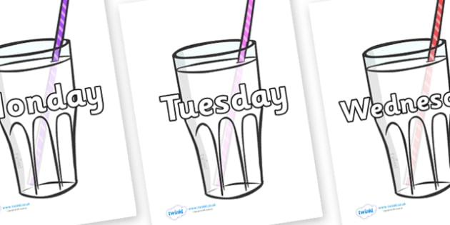 Days of the Week on Milkshakes - Days of the Week, Weeks poster, week, display, poster, frieze, Days, Day, Monday, Tuesday, Wednesday, Thursday, Friday, Saturday, Sunday