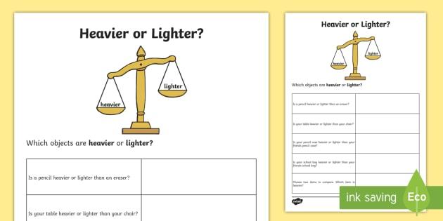 Heavier or Lighter Worksheet / Worksheet-Australia - Heavier ...
