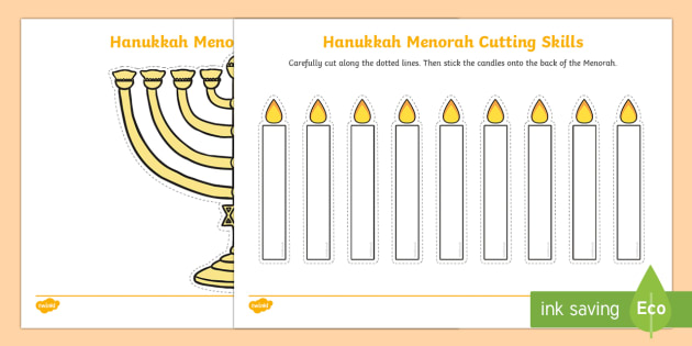 Hanukkah Menorah Cutting Skills Activity Sheet - Hanukkah, Jew, Judaism, celebration, light, festival, menorah, cutting skills, fine motor skills