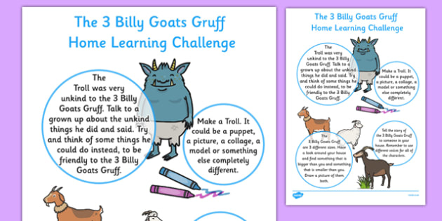 The Three Billy Goats Gruff Home Learning Challenge Sheet Nursery FS1 - EYFS planning, early years planning, homework, traditional tales