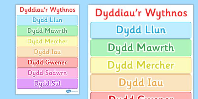 Poster Dyddiau'r Wythnos - posters, display, displays, day, diwrnodau'r wythnos