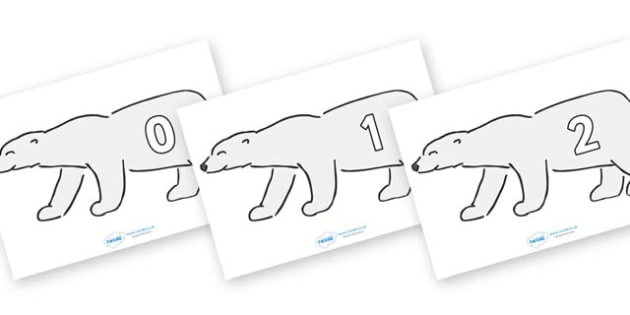 Numbers 0-31 on Polar Bears - 0-31, foundation stage numeracy, Number recognition, Number flashcards, counting, number frieze, Display numbers, number posters