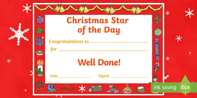 Star of the Day Christmas Themed Certificate - christmas, star