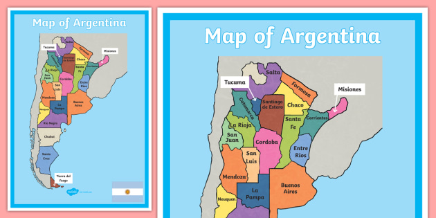Argentina Display Poster - Large Blank Map of Argentina ...