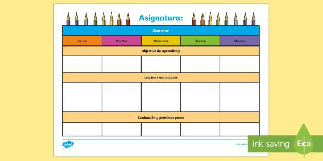 Plantilla de planificación semanal editable - Plantilla, planificación, semanal